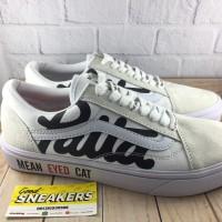 Sepatu Vans Oldskool X Patta X Beams Mean Eyed Cat Crem White - Premiu