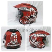 Terlaris Helm ARL Half Face Double Visor AC Milan