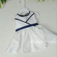 Baju Bayi Import Warna Putih Lis Biru Navy Elegant White Baby Dress