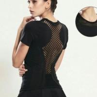 Kaos Baju Tanktop Sport Olahraga Wanita Gym Senam Fitness Lubang Jala