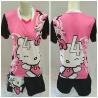 setelan baju voli mizuno cewek motif hello kitty printing volly wanita