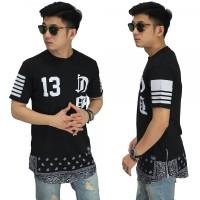 Longline T-Shirt Bottom Paisley Tribal Black/ Kaos Pria Hip Hop Casual