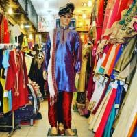Baju India Pria Kurta Set Baju Celana Selendang Sepatu