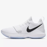 Sepatu Basket Nike PG 1 Paul George White Chrome Original 878627-100