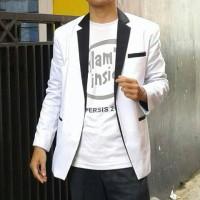 Blazer Pria putih hitam, blazer murah ala korea , balzer keren men.
