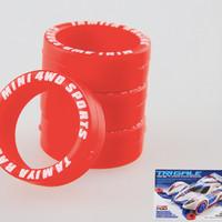 TAMIYA LP HARD TIRES RED / BAN SUPER HARD W/ LETTERING RED