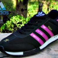 Sepatu Olahraga Adidas Neo Italy Hitam Stripe Purple Sepatu Joging