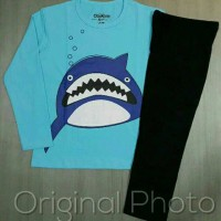 Baju tidur/ Piyama anak karakter Oshkosh Shark biru 1 sd 6 thn