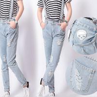baju kodok panjang jeans celana pinggang highwaist korea jumpsuit sale