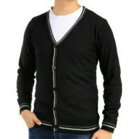 cardigan sweater kancing pria jaket rajut cowok hitam ariel