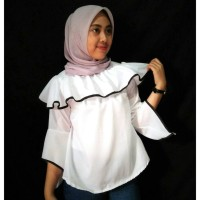 Baju Atasan Blouse Sabrina Shoulder Wanita Warna Hitam Putih