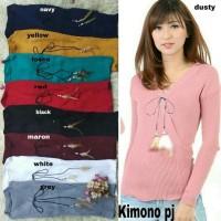 Grosir Baju Kimono Pj Bulu Ayam Ro Blouse Wanita Stret Rajut Var Color