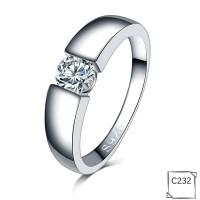 Cincin Unisex Lapis Emas Putih 18K Batu Cubic Zirconia AAA Simple C232