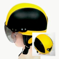 Helm Anak Chip Usia 1 sampai 4 tahun Motif Polos Hitam Kuning