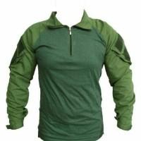 combat shirt hijau OD - kaos tactical - kaos tni ad - kaos pria velcro