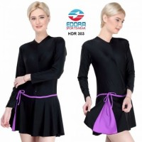 Baju Renang Wanita Ukuran XXL Rok Tangan Panjang Remaja Dewasa HDR-303