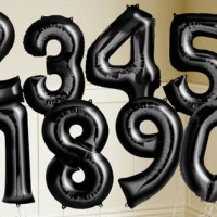 Balon foil Huruf Angka uk.40cm Hitam / Black
