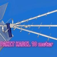 Paket antena TV titis + kabel rg6 venus 10m + jack L taiwan