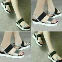 SALEEE sandal DOCMART silver wanita murah / ecer flat shoes terbaru