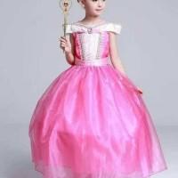 Baju Anak Dress Kostum Princess Aurora Pink Sifon Beludru