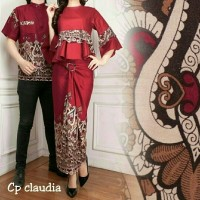 Baju Couple / Fashion Copel Batik Modern Cantik CS Cp Claudia Marun