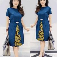 Mini dress L/ Chika daun biru / baju terusan wanita batik modren modis