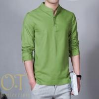 [koko hamish green OT] baju koko pria katun twill lengan panjang hijau