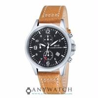 AVI 8 Man Hawker Harrier II Watch Black Dial Tan Leather AV 4001 02