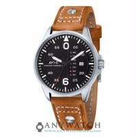 AVI 8 Man Hawker Harrier II Watch Black Dial Mustard LeatherAV 4003