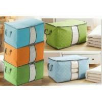 Cloth box bag storage organizer tempat pakaian bed cover bamboo