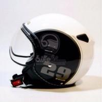 ZEUS 210 HELM RETRO IMPORT MOTIF 29 BLACK WHITE HITAM PUTIH GROSIR