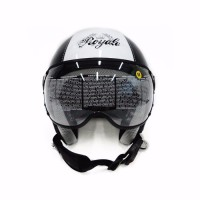 ZEUS 210 black white hitam putih helm retro pilot bogo harley M L XL