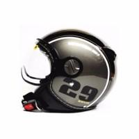 ZEUS 210 HELM RETRO IMPORT MOTIF 29 BLACK SILVER HITAM ABU GROSIR
