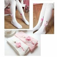 BALLERINA STOCKING PINK / WHITE (BAJUKIDDIE) ANAK PEREMPUAN LEGGING