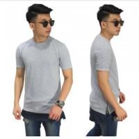 long line t-shirt two tone zipper grey