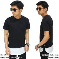 long line t-shirt two tone zipper black