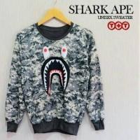 jakeg sweater pria / sweater fullprint bape shark