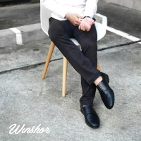 Winshor Derby Lington Black - Sepatu Pantofel Pria Premium