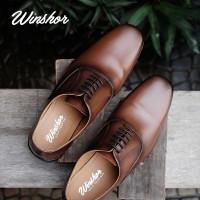 Winshor Oxford Lington Brown - Sepatu Kantor Pantofel Pria Premium