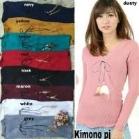 Baju Kimono Pj Bulu Ayam Ro Blouse Wanita Stret Rajut Var Color Fe