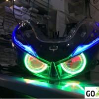 headlamp honda vario 150 paket projector AES B1 wifi angel eye depan