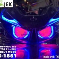 headlamp vario 150 dengan projector aes B1 square + drl fleksibel