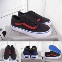 Sepatu Kets Sneakers Vans Old Skool Devil Wear Prada Black Red Hitam