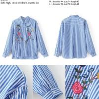 45054 Blue Stripe Flower Shirt / Kemeja Wanita Garis Biru Bordir