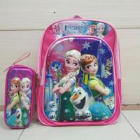 Tas anak ransel sekolah anak perempuan SD Frozen sets tempat pensil 6D - Fuchsia