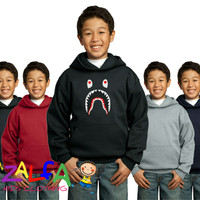 Jaket Hoodie Sweater A Bathing Bape Shark Untuk Anak Usia 6-9 Tahun