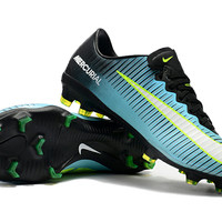 Sepatu bola replika import nike mercurial vapor black blue cyan FG