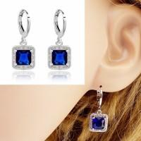 Anting Blue Sapphire Safir Perhiasan Silver Perak JA-006