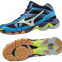 Sepatu Volly Voli Mizuno V1GA176571 Wave Bolt 6 Mid Black White Blue