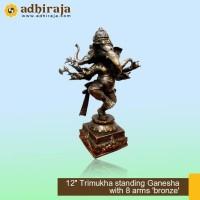 Rupang Patung Arca Dewa Ganesha Ganesa Trimukha 8 arms Kuningan 12